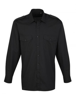Piloten Hemd schwarz langarm