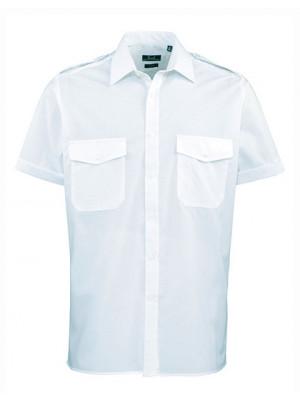 Pilothemd kurzarm hell blau