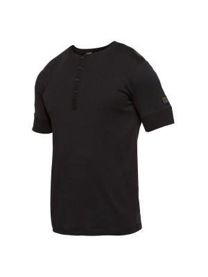 Grandad Kurzarm-Shirt Schwarz