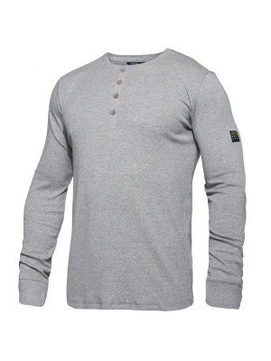 Grandad Langarm Shirt Graumeliert