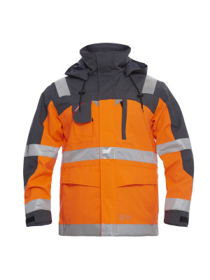 EN 20471 Parka Shell Jacke Orange/Grau