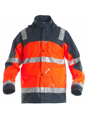 EN 471/EN 20471 Regenjacke Orange/Marine