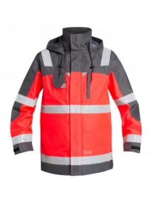 EN 471 Parka Shell Jacke Leuchtrot/Grau